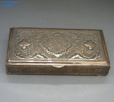 ANTIQUE PERSIAN SILVER PLATE on COPPER HAND ENGRAVED BOX, 280g, SIGNED, c1900