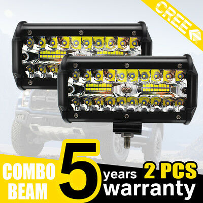 2x 7inch CREE LED Work Light Bar Spot Flood OffRoad Fog Driving 4WD 4x4 Reverse