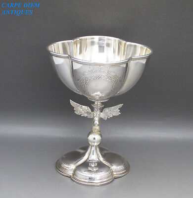 Antique Victorian Wonderful Solid Silver Hermes Wing Foot Stem Goblet Birm 1875