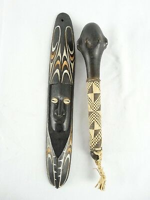 Fijian War club  ULA with orchid stem binding  Tradition wall mask Fiji Oceania