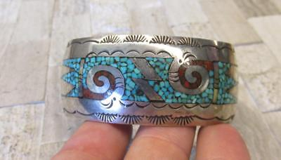 Native American Inlaid Turquoise & Coral Sterling Silver Cuff Bracelet ~ 8-H7571