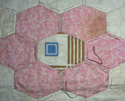 c1840s BEAUTIFUL EARLY 19th CENTURY PRINTED COTTON PATCHWORK QUILT BLOCK, REF 24