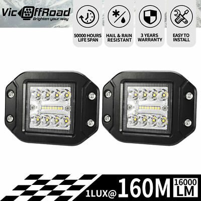 2 x 4inch CREE LED Work Driving Light Bar Flood Spot Flush Mount Reverse 35W/45W