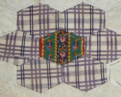 c1840s BEAUTIFUL EARLY 19th CENTURY PRINTED COTTON PATCHWORK QUILT BLOCK, REF 26
