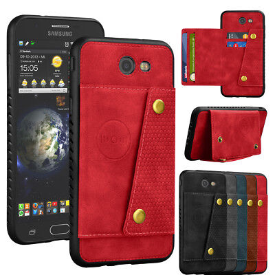 For Samsung Galaxy J7 V J7 Prime Sky Pro Perx Halo Leather Card Mount Case Cover