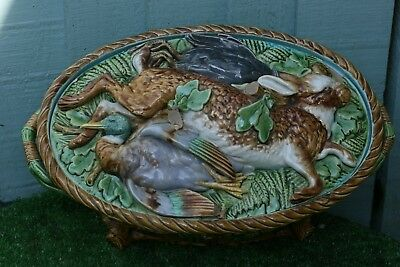 SUPERB MID 19thC MINTON MAJOLICA GAME DISH, TUREEN WITH DECORATIVE COVER c1866