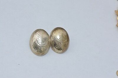 Vintage Sterling Silver .925  Puff clip on Earrings made in Thailand  NICE