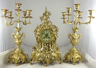 Antique Large French Japy Freres 19th c Gilt Bronze Roccoco Mantel Clock Set