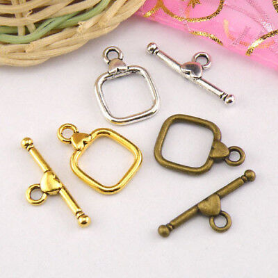 4Sets Tibetan Silver,Antiqued Gold,Bronze Leaf Connectors Toggle Clasps M1422