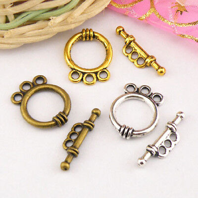 5Sets Tibetan Silver,Antiqued Gold,Bronze 3-Holes Connector Toggle Clasps M1416