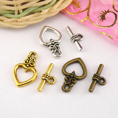 5Sets Tibetan Silver,Antiqued Gold,Bronze Heart Connectors Toggle Clasps M1410