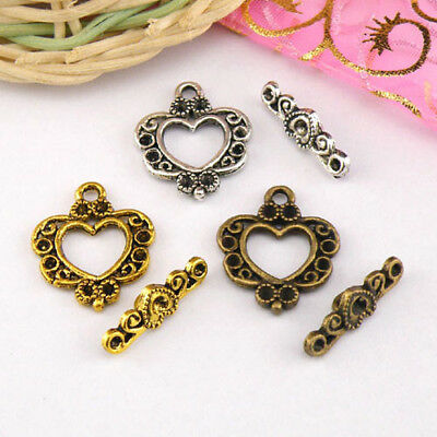 4Sets Tibetan Silver,Antiqued Gold,Bronze Heart Connectors Toggle Clasps M1409