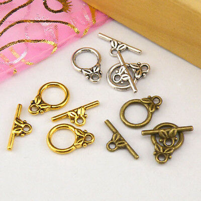 10Sets Tibetan Silver,Antiqued Gold,Bronze Leaf Connector Toggle Clasps M1392