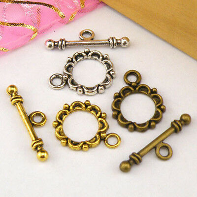 5Sets Tibetan Silver,Antiqued Gold,Bronze Flower Connector Toggle Clasps M1391
