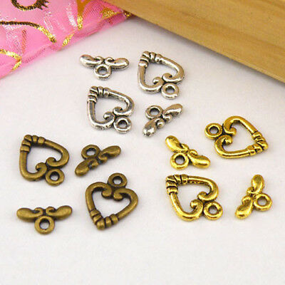 8Sets Tibetan Silver,Antiqued Gold,Bronze Heart Connector Toggle Clasps M1388