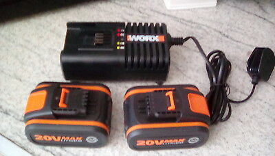 Worx x2 20v batterys 4.0ah and  battery charger