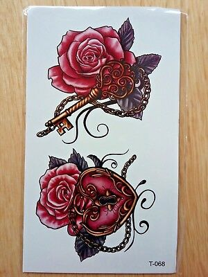 ROSE AND LOCKET TEMPORARY TATTOOS 110mm X 60mm T068