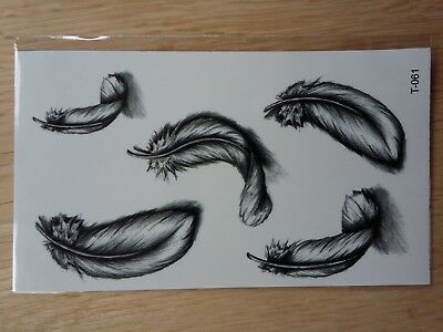 FEATHER TEMPORARY TATTOOS 110mm X 60mm T061