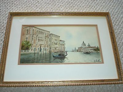 Rare 19th century A. Verutti watercolor Venice Italy Gondolas river church