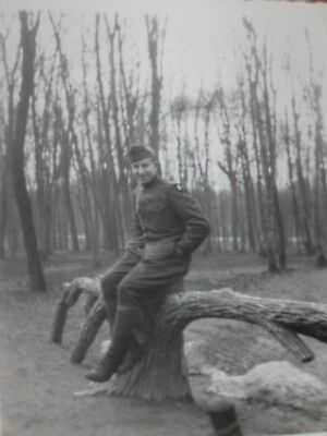Vintage Photograph 1940s WW II Soldier Sitting on Tree Stump Outdoors