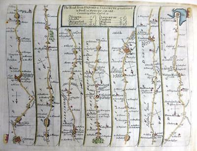 ROAD MAP BY JOHN SENEX c1762 HAND COLOUR  OXFORD SALISBURY POOLE COVENTRY DERBY