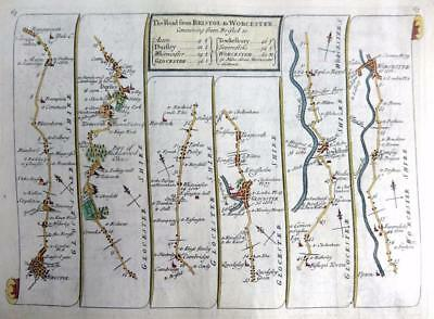ROAD MAP BY JOHN SENEX c1762 HAND COLOUR   BRISTOL GLOUCESTER WORCESTER EXETER