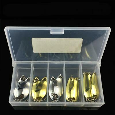 12pcs /Lot Silver Metal Spoon Metal Fishing Lures Spinner Baits Bass Tackle+Box