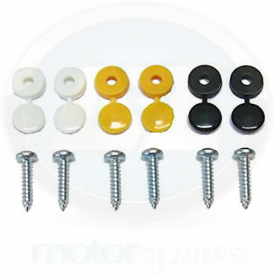 6 x Number Plate Screw Pack Cap Fitting Fixing Yellow White Black Kit 2 Each new