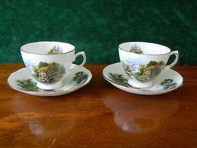 2 Royal Vale 'cottage Garden' Cups And Saucers.