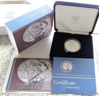 2001 Royal Mint Silver Proof £5 Crown Queen Victoria Centenary Cased W/COA/Outer