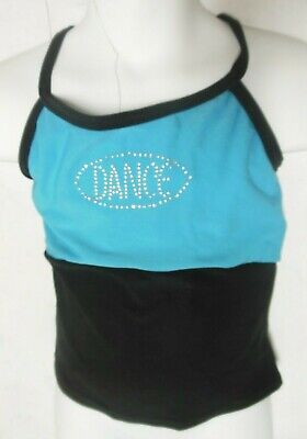 "NWT 2 tone camisole top girls small child Peacock Blue w/ Silver ""DANCE"""
