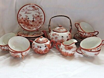 Antique Japanese Geishas Hand Painted TEA SET 29 Piece SET circa 1900