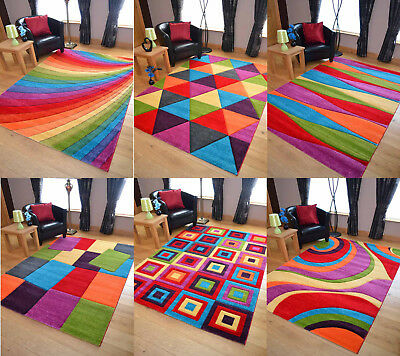 Multi Coloured Thick Rugs Soft Heavy