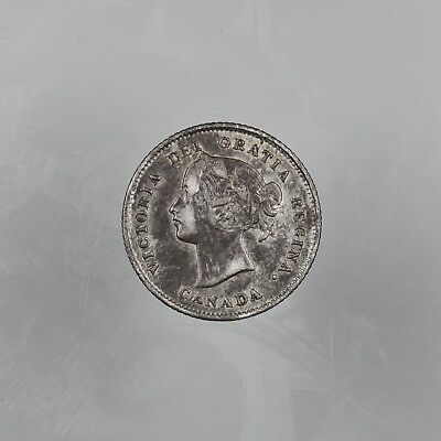 1875 H Small Date Canada Victoria Silver 5 Cents Coin Key Date