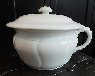 Antique CHAMBER POT with LID England BISHOP & STONIER White Ironstone Vintage