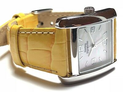 Beautiful Ladies Sterling Silver - STERLING SIGNATURES Wristwatch Yellow Leather