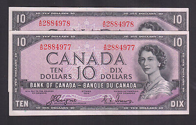 1954 Canada 10 Dollars Devil Face Consecutive Bank Note X 2