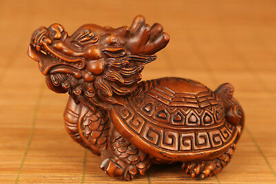 Chinese Old Boxwood Handmade Carved Turtle dragon Statue