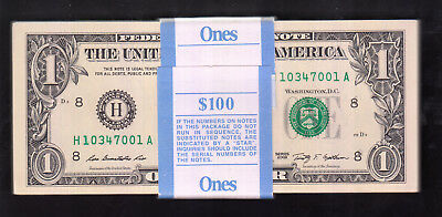 2009 Usa 1 Dollar Bank Note Consecutive X 100
