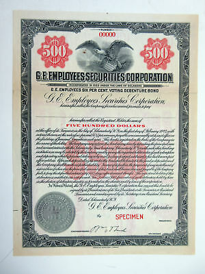 General Electric G.E. Employees Securities Corp 1920s Specimen $500 Bond VF ABN