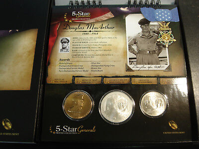 2013 US Mint 5 Star Generals Profile Collection Silver Dollar Clad Half & Medal
