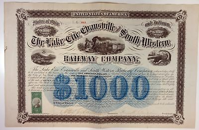 OH & IN. Lake Erie Evansville & South Western Railway Co 1872 I/C Bond VF-XF