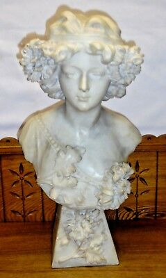 Antique Marble Bust Statue Of Woman - 20""