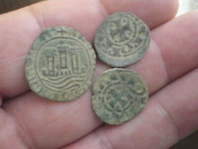 *centauro* LOT OF 3 ANCIENT MEDIEVAL COINS PORTUGAL ceitils