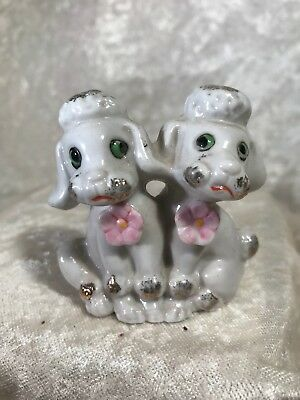 Vintage Ceramic Double Poodle Figurine / Japan