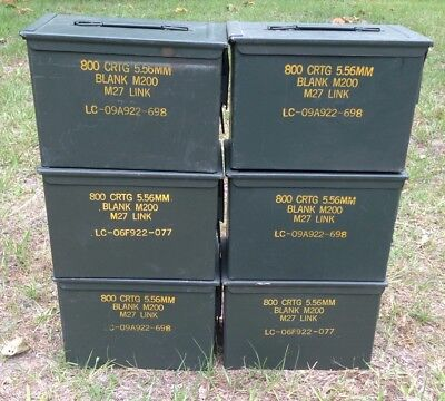 ( Lot of 6 ) FAT 50 SAW Ammo Cans Original US Military Surplus