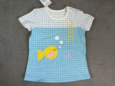 M&s Blue & White T.shirt Has Lines In Squares With A Fish & Shrimp Swimming-Bnwt