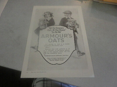 Rare 1921 We Eat Armour's Oats at our House, So Do We Advertisement