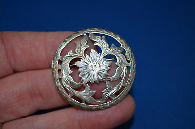 """Dressy Mexican Made STERLING SILVER Filigree Cut Concho Lapel Pin - 1 1/2"""""""
