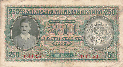 250 Leva Fine Banknote From German Occupied Bulgaria 1943!pick-65!!